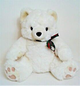 "Fluffy White Teddy Bear 15"" Soft Toy Plush Comforter Tartan Ribbon Bow EXC"