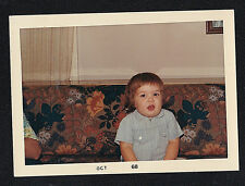 Vintage Photograph Little Baby Sitting on Crazy Flowered Couch / Sofa 1968