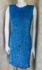 Vintage 1920s Blue Beaded Cocktail Dress SzPS Flapper Glamour