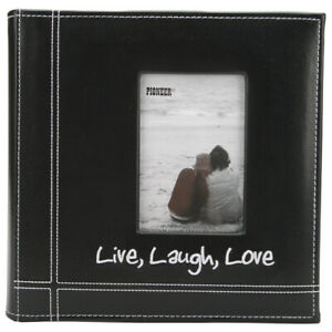 """Pioneer Embroidered Stitched Leatherette Photo Album 9""""X9""""-Live, Laugh & Love"""