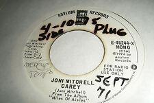 Rare JONI MITCHELL 45 CAREY / Jericho 1974 Asylum WL Promo Mono E-45244 X Y EX+