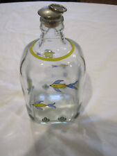 Hand Painted Square Bottle Decanter w/Stainless Steel/Ring/Cork Top~Fish~LBDLR
