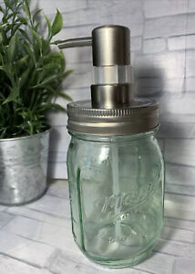 Mason Pint Ball Dispenser Mason Canning Jar soap dispenser Farmhouse Green 12oz