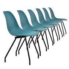 6x Design Chaises de Salle Turquoise Chaise PLASTIQUE PLASTIQUE Rétro