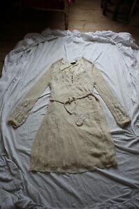 ANTIK BATIK Robe Crème Perles Soie 100% Silk beaded dress FR 38 Flapper 1920s