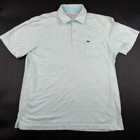 Vineyard Vines Mens Blue Striped Short Sleeve Polo Shirt Size Medium