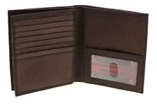 Paul & Taylor Brown Leather Hipster Center Flap Bifold Wallet 16 Card Holder