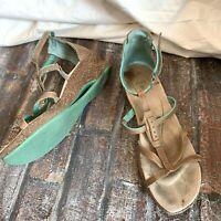 AHNU Genuine Leather Beige Wedge Sandals Ankle Strap Sport Shoes Cork Heel 8.5 W