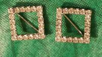 Vintage Rhinestone Scatter Square Pins