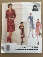 Vogue Attitudes Anna Sui Sewing Pattern 1619 8 10 12 Dress 40's Style OOP FF UC