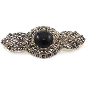 Judith Jack Sterling Silver Black Onyx Marcasite Pin Brooch