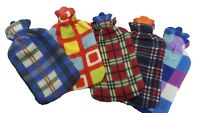 AS WARM SOFT 2 LITER LARGE HOT WATER BOTTLE WITH REMOVABLE PATTERN FLEECE COVER