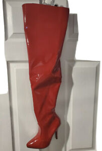 Red patent leather thigh high boot SIZE 7