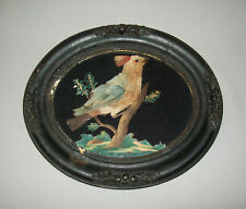 Old Antique Vtg 19th C 1800s Folk Art Bird Painting Watercolor Paper & Feathers