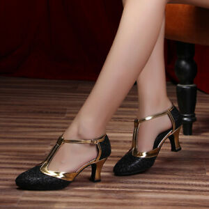 Ladies Latin Dance Shoes Ballroom High Heels Tango Salsa Dance Ankle Strap Pumps
