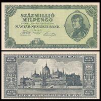 Hungria Hungary 100 Million  Forint, 1946, P-130, AU-UNC