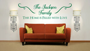 Personalised Family name 'This Home is Filled with Love Wall Sticker Mural Decal