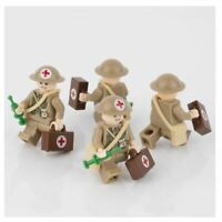 10PCS WW2 British Army Soldiers Figures Building Blocks Military Weapons Medic