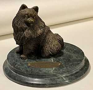 Vintage Living Stone Limited Edition Bronze POMERANIAN Dog Sculpture Marble Base