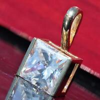 Handmade vintage 10k yellow gold 1.80ct white topaz solitaire charm pendant 1.4g