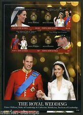 PAPUA NEW GUINEA MARRIAGE OF KATE MIDDLETON & PRINCE WILLIAM SHT IMPERF MINT NH