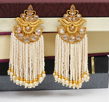 Ethnic Indian Bollywood Gold plated White Pearl Kundan Earring Jhumka Bridal Set
