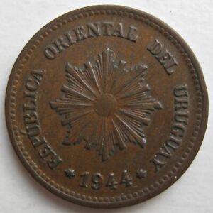 DECENT URUGUAY 1944 TWO CENTESIMOS COIN (KM# 20a)