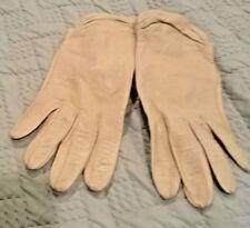 Vintage Beige Skin Leather Gloves Sz 6 1/2 (9)