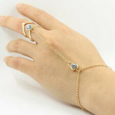 Gold Big Crystal Ring Bracelet Women Girl Wrist Chain Hand Back Bangle Jewellery