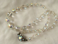 VINTAGE Aurora Borealis Faceted Glass Necklace Floral Beaded Clasp  #1
