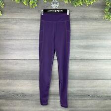 Unbranded Leggings Womens XS Purple Mesh Hem Ankle Length Stretch High Rise