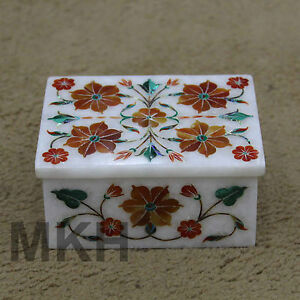 Marble Jewelry Box Rare Marquetry Inlay Gemstones Work Handmade Decor Mosaic Art