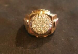 Pre-Owned Round Diamond Square Cluster Men's Rolex Ring 14k Yellow Gold .52Ct