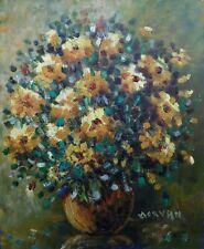 Jean-Jacques MORVAN (1928-2005)  huile /isorel bouquet de fleurs EXPRESSIONNISME