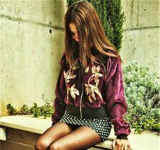 ZARA Woman BNWT Burgundy Patchwork Velvet Bomber Jacket Size M Ref. 7568/237