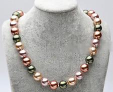12mm Natural Multicolor South Sea Shell Pearl Round Beads Necklace 18'' AAA