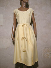 CHIC VINTAGE ROBE 1950 SOIE VTG COCKTAIL DRESS 50s SILK ABITO VESTIDO RETRO (38)