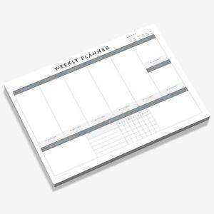 A4 Weekly Planner Notepad Habit Tracker Desk Organiser Meal Planner 50 Sheet Pad