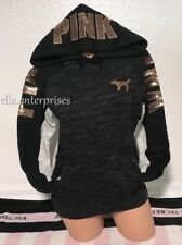 Victoria's Secret Pink Black Marl Gray Rose Gold Bling Perfect Pullover Hoodie M