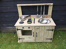 child's wooden mud kitchen hand made garden playground nursery playroom school