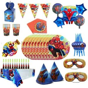 SPIDER-MAN BIRTHDAY PARTY TABLE COVER CUPS PLATES BUNTINGS HATS HATS BALLOONS