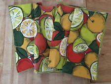 Vintage Set of 4 Citrus Fruits Lemon Lime Cloth Napkins NEW