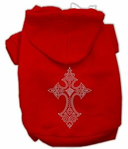 """Mirage Pet Products RED Dog CROSS Hoodie SMALL 10"""" BACK Jumper BEADED CROSS"""