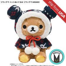 Authentic Japan San-X Rilakkuma Knit Winter Hood Cape Plush Toy Kawaii Cute Rare