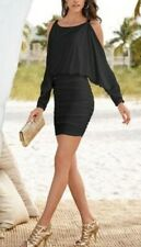 NWT Boston Proper Cold Shoulder Batwing  Black Long Sleeve Dress M Gold Chain
