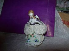 """Antique REDUCED German Dresden? Lace figurine 3"""" tall hand painted blue Crown"""