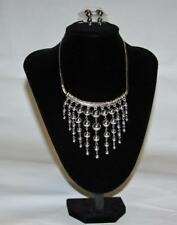 Chain & Beads Fashion Jewelry Jxn New Necklace & Earrings Set Silver Tone Flat