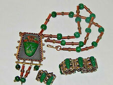 Copper Jewelry with Green Onyx Set of Aztec Mexican Sterling &