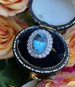 Victorian Aquamarine and Diamond Platinum Ring 0.45ct + 2.22ct