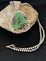 Navajo Pearls Sterling Silver Green Spiderweb Turquoise Pendant Necklace 2983